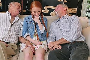 Petite Ginger Teen Doggystyling Oldmans Cock